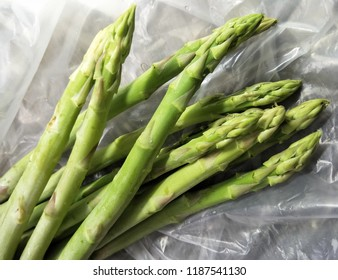 Asparagus on plastic bag.