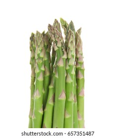 Asparagus sprouts on white background. Aphrodisiac food for increasing sexual desire