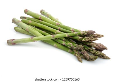Asparagus sticks isolated on white background. Studio shot.