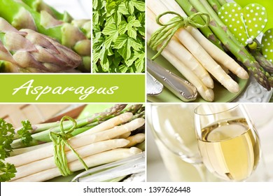 Asparagus and wine dinner collage