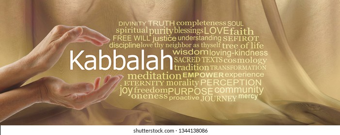 Aspects of Divine Kabbalah Word Tag Cloud - female hands cupped around the word KABBALAH surrouned by a word cloud against a gold flowing chiffon background