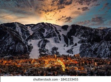 Aspen city skyline with dramatic sunset