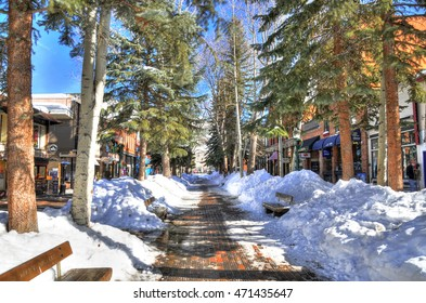 ASPEN, CO, FEB 7: Snowy shops street in the center of Aspen on clear sky. Aspen. Colorado, Feb 7, 2016
