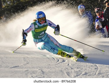 ASPEN, CO - NOV. 26: Tanja Poutiainen competes at the Audi Quattro FIS Women Giant Slalom Worldcup ski race in Aspen, CO on Nov 26, 2011