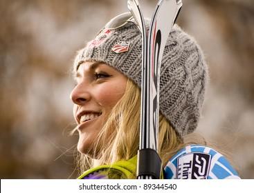 ASPEN, CO - NOV 28: Lindsey Vonn at the 2010 Audi FIS Woldcup Slalom in Aspen, CO on Nov 28, 2010