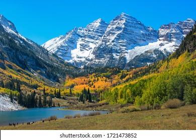 Aspen Colorful Autumun under Snow Mountain with Lake