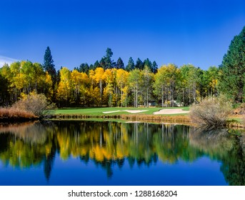 Aspen trees showing fall color are reflected in a pond on a golf cours in Central Oregon