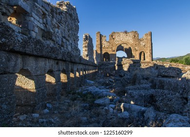 Aspendos was an ancient Greco-Roman city in Antalya. Famous historical landmark of Turkey. Founded in the 5th century BC. Great Basilica. Temple, Cisterns, City Square, Nymphaeum, Agora, Market hall.