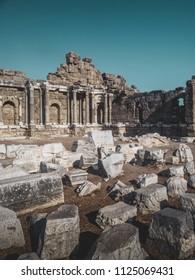 Aspendos ruins in Aspendos, Antalya, Turkey late in the day.