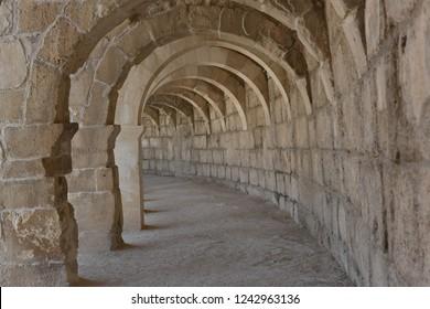 Aspendos theater is the best preserved Roman theater in the world, even the best preserved ancient theater. Antalya, Turkey.  April 14, 2018.