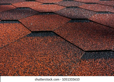 Asphalt Bitumen Shingles Photo. Close up view on Asphalt Roofing Shingles Background. Roof Shingles - Roofing Construction, Roofing Repair.