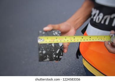 Asphalt Concrete Thickness Tests, Photo Blurry
