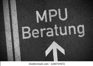 Asphalt with the german word for medical-psychological assessment