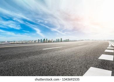 Asphalt highway passing through the city above in Shanghai