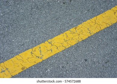 Asphalt highway with yellow markings lines on road background