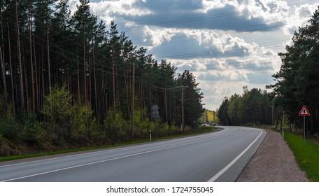 Asphalt highways road surrounded by forest, road sign, land transport and traveling background, backdrop