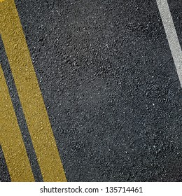 Asphalt lined road surface