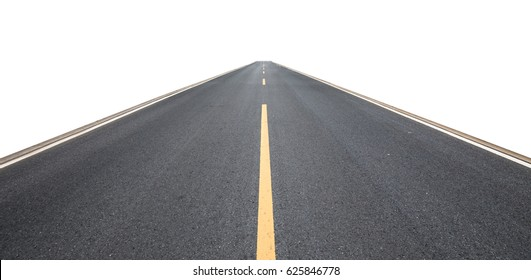 Asphalt pavement, isolated background