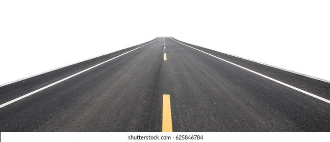 Asphalt pavement, isolated background