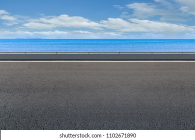 Asphalt pavement and sea