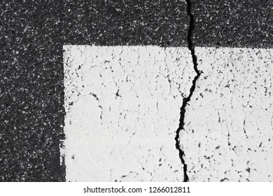 Asphalt pavement sign marking crosswalk white paint wet old surface texture detail