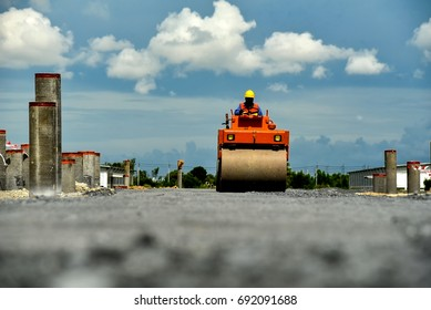 asphalt paver large machinery