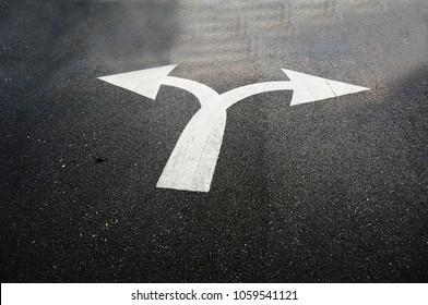 Asphalt road 2-directions arrow