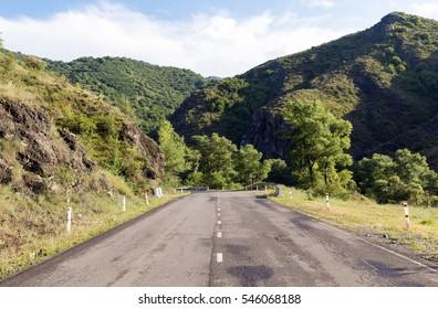 Asphalt road among the mountains