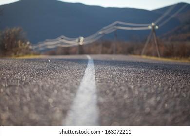 Asphalt road close up photo