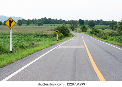 asphalt road in countryside with corn field