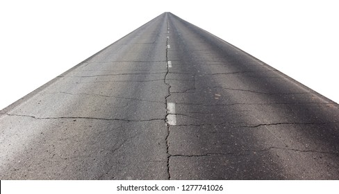 asphalt road isolated on white background. old roadbed with cracks. way over the horizon.