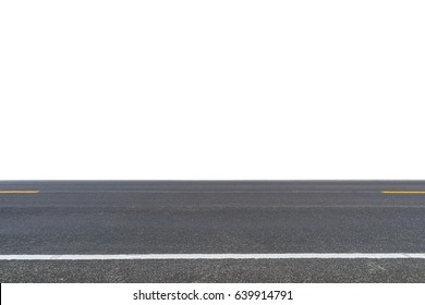 Asphalt road isolated on white background.  This has clipping path.