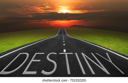 Asphalt road and landscape background with destiny words, Business concept photo.