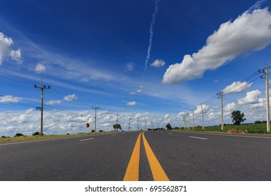 Asphalt road with line