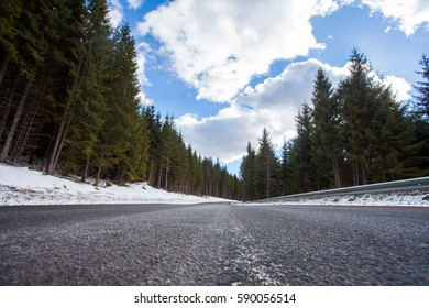 Asphalt road in the mountains, snow everywhere and wisk trees coniferous trees and dense forest