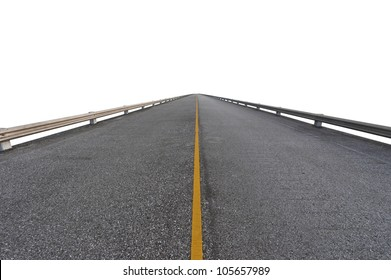 Asphalt road on white with path