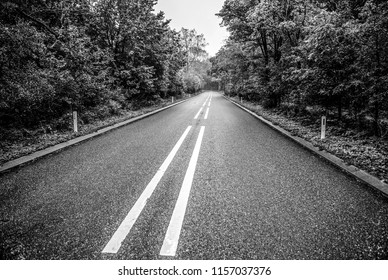Asphalt road outside the city. Black-white photo.