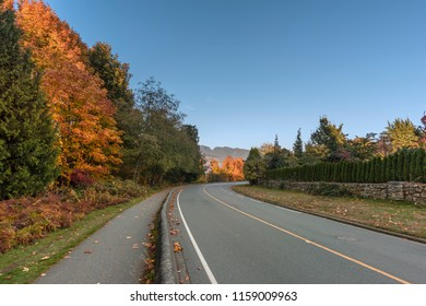 asphalt road and pedestrian pavement in the suburbs near red and green autumn trees and a stone fence with a hedge, mountains, ocean and blue sky in the background
