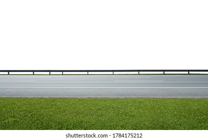 Asphalt road with railings and green grass,isolated on white background with clipping path. Side angle view