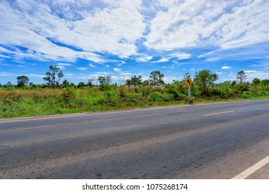Asphalt road side view and landscape countryside.