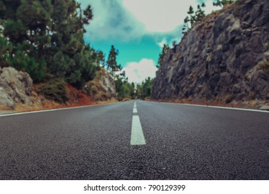 Asphalt road in summer forest with beautiful landscape somewhere in mountains