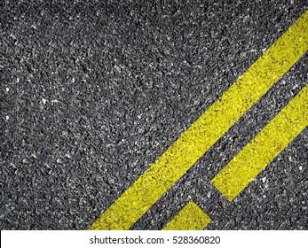 Asphalt Road Texture With Yellow Dash Strip