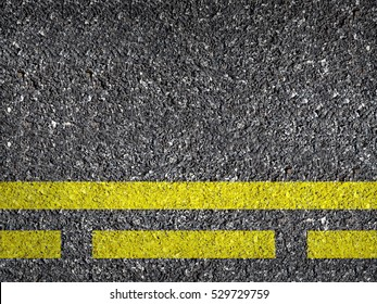 Asphalt Road Texture With Yellow Dash Strip