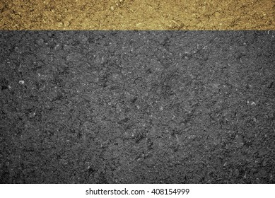 Asphalt Road texture with yellow and white strip