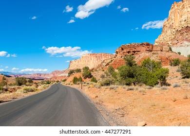 asphalt road through the Capitol Reef national park, USA