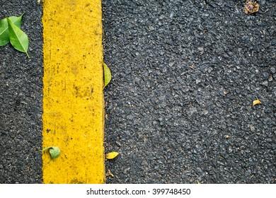 Asphalt road with tree leaves