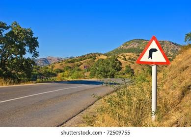 asphalt road turn