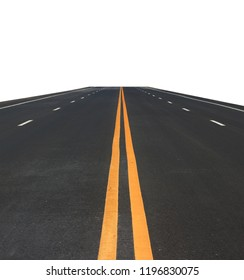 Asphalt road with yellow line isolated on white background. This has clipping path.