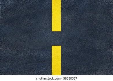 Asphalt road yellow marking. Single discrete line