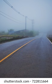 The asphalt street view with yellow line at the middle in the mist